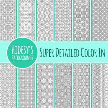 Super Detailed Color In Backgrounds / Digital Papers Clip Art Set Commercial Use