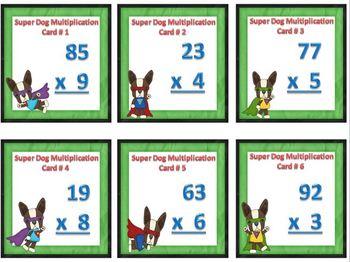 Super Dog Double Digit by Single Digit Multiplication