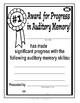 Super Duper Award - Auditory Memory Progress