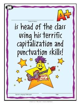 Super Duper Award - Capitalization and Punctuation - boy