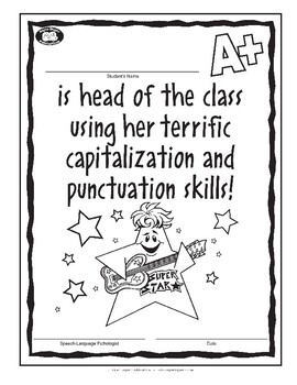 Super Duper Award - Capitalization and Punctuation - girl