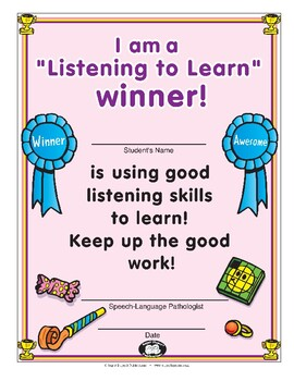 Super Duper Award - Listening to Learn