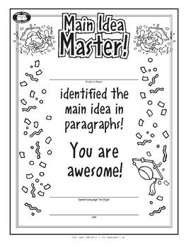 Super Duper Award - Main Idea Master