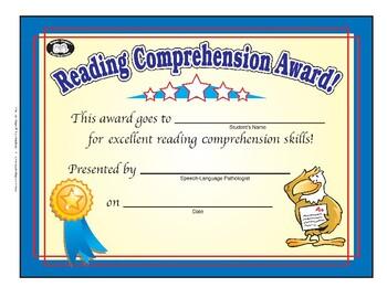 Super Duper Award - Reading Comprehension