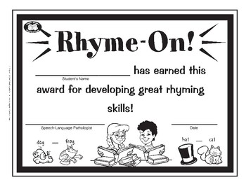 Super Duper Award - Rhyming Skills
