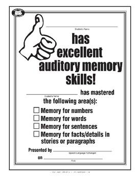 Super Duper Award - Thumbs Up Auditory Memory