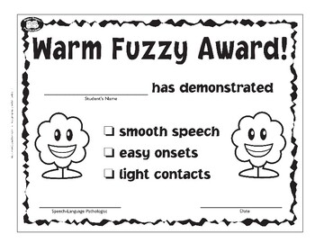 Super Duper Award - Warm Fuzzy Fluency