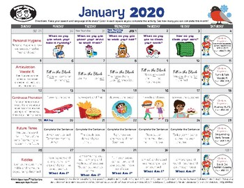 Super Duper Speech Calendar - January 2020
