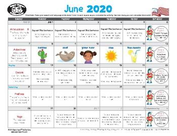 Super Duper Speech Calendar - June 2020