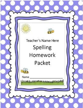 Super Duper Spelling Homework Packet