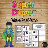 Word Problems Matching Game Kindergarten & First Grade Superhero Theme