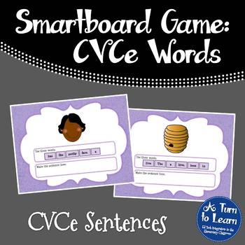 Super E / CVCe Sentence Arranging Game for Smartboard or P