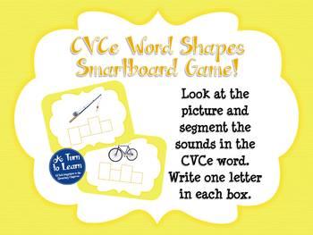Super E / CVCe Word Shapes Game for Smartboard or Promethean Board!