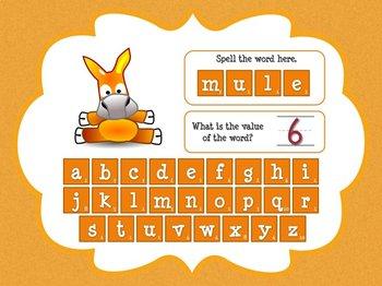 Super E / CVCe Word Value Game for Smartboard or Promethean Board!