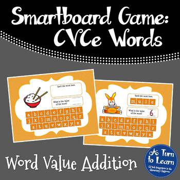 Super E / CVCe Word Value Game for Smartboard or Promethea