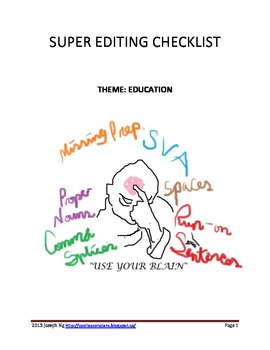 Super EDITING Checklist - Education Theme