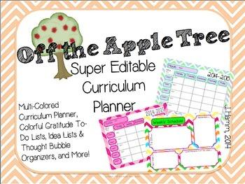 Super Editable Curriculum Planner! Multi-Colored Multi-Pack for Super Planning!