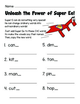 CVCe: Super Ee! Worksheets and Pencil Topper Capes