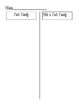 Fact Family Fun Packet