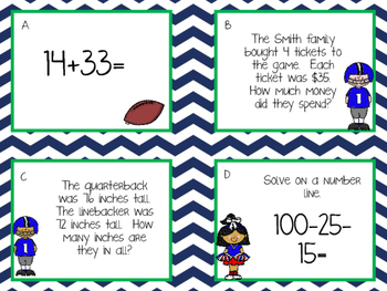 Super Football Math Task Cards/Scoot