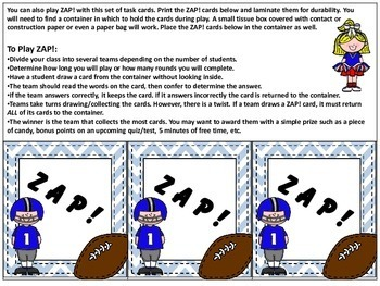 Super Football Scoot/ZAP! Alphabetical Order