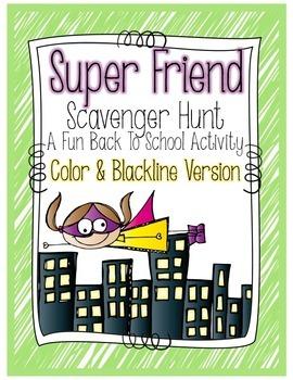 Super Friend Scavenger Hunt - A Back to School Activity