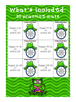 Super Frog Math Fact Practice Wheels {+3, +4, +5, +6, +7, +8}