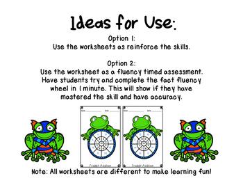 Super Frog Math Fact Wheels {+3, +4, +5, +6, +7, +8}