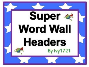 Super Froggy Word Wall Headers
