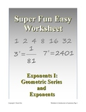Super Fun Easy Worksheet 4, Introduction to Exponents