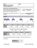 Super Fun Easy Worksheet 6, Acceleration