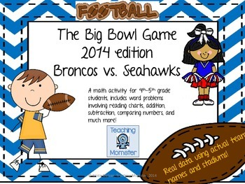 Super Fun Football Word Problems--For the big Bowl Game in