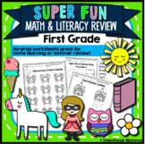 Super Fun Math and Literacy Review: 1st Grade No-Prep Work