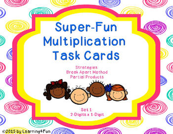 Super-Fun Multiplication Task Cards (2-Digits x 1-Digit)