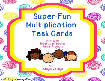 Super-Fun Multiplication Task Cards (2-Digits x 1-Digit)