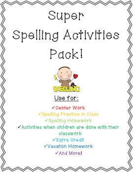 Super Fun Spelling Center Activities for the Whole Year!