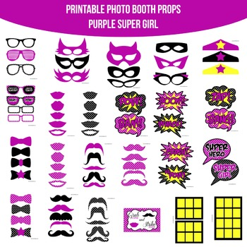 Super Girl Purple Printable Photo Booth Prop Set