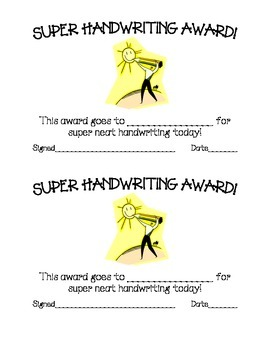 Super Handwriting Award
