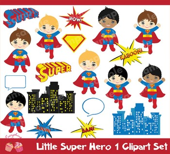 Super Hero 1 Clipart Set