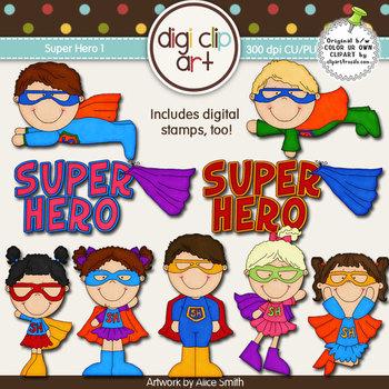 Super Hero 1-  Digi Clip Art/Digital Stamps - CU Clip Art