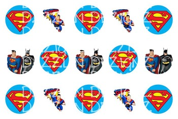 Super Hero - 1 inch Circle Images - Bottle caps - Bingo Chips - Math Manipul