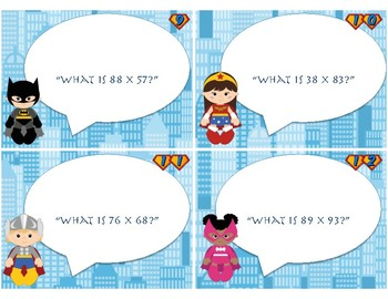Super Hero 2 Digit Multiplication Task Cards