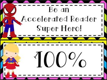 Super Hero Accelerated Reader Clip Chart *bright chevron on black*