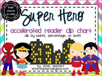 Super Hero Accelerated Reader Clip Chart *bright chevron on white*