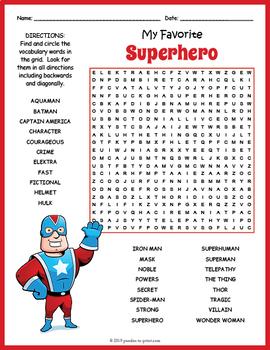 Super Hero Activity - Superhero Word Search FUN