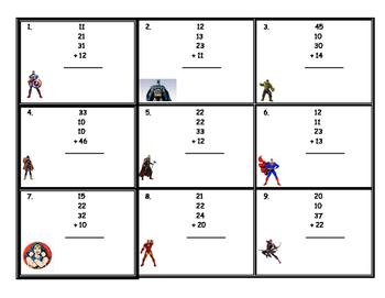 Super Hero Adding 4 Two Digit Number Task Cards