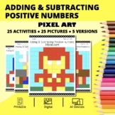 Super Hero: Adding and Subtracting Integers #1 Pixel Art M