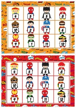 Super Hero Addition and Subtraction Bingo.