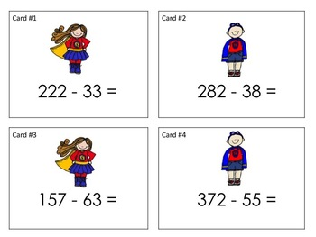 Addition and Subtraction with Regrouping Task Cards BUNDLE {Super Hero}