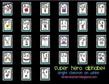 Super Hero Alphabet {Bright Chevron on White background}